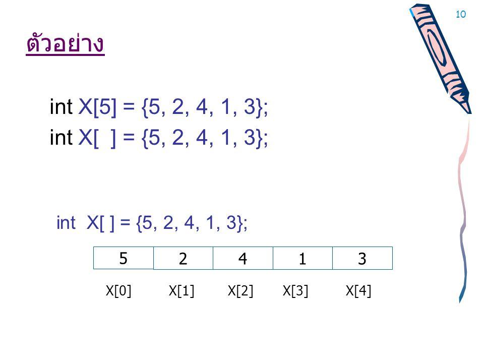 ตัวอย่าง int X[5] = {5, 2, 4, 1, 3}; int X[ ] = {5, 2, 4, 1, 3};